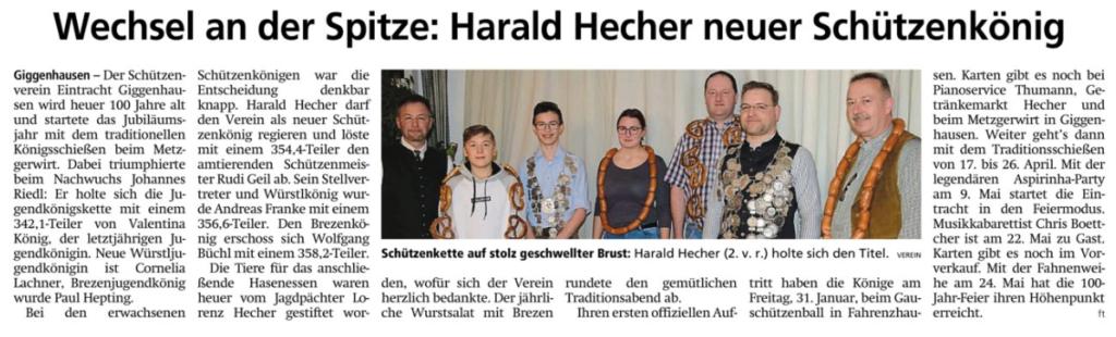 Königsschießen 2020 bei Eintracht Giggenhausen Freisinger Tagblatt, 18.01.2020