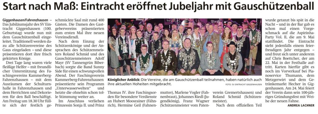 Gauschützenball 2020 bei Eintracht Giggenhausen Freisinger Tagblatt, 06.02.2020